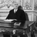 Charles de Gaulle lors de son allocution radio-télévisée du 16 septembre 1959
