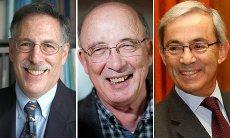 Peter Diamond, Dale Mortensen et Christopher Pessarides, Nobel d'économie 2010. (Source : The Guardian)