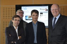France Télévisions, Paris, le 15 novembre 2011, à l'inauguration officielle de FTVi. De gauche à droite : David Pujadas, Hervé Brusini, Bruno Patino et Rémi Pflimlin. (source : France télévisions)