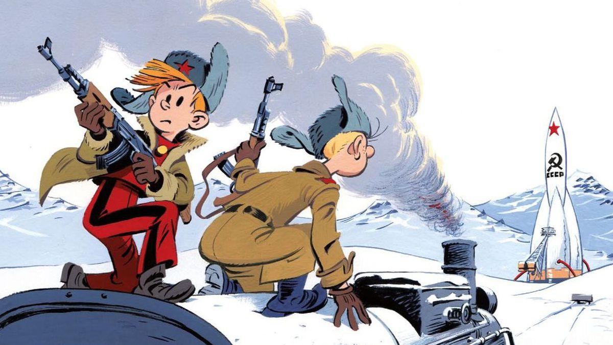 Dessin de couverture de Fabrice Tarrin. Spirou chez les soviets, Fred Neidhardt et Fabrice Tarrin,Dupuis, 56 p., 12 € 50.